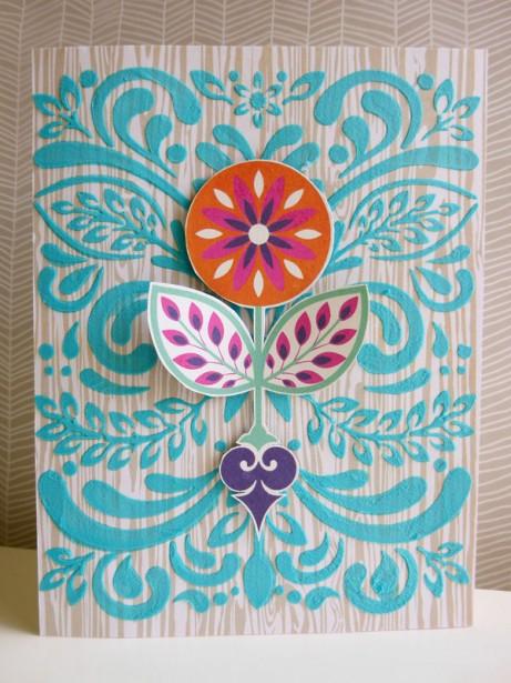 Basic Grey - Grand Bazaar - Leaf & Flourish stencil - card