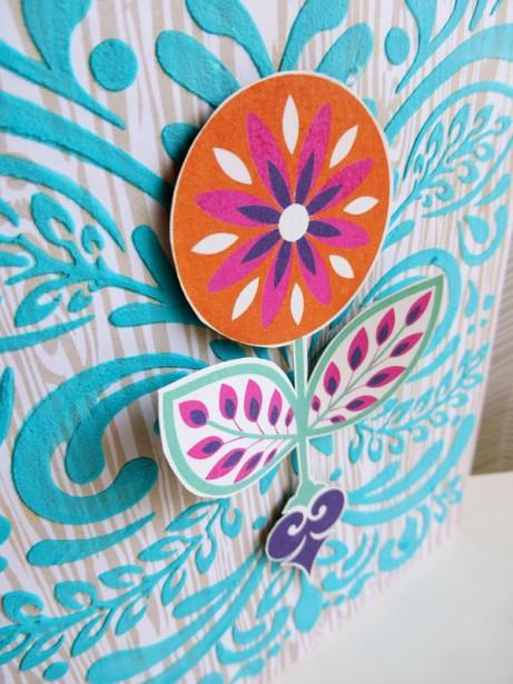 Basic Grey - Grand Bazaar - Leaf & Flourish stencil - card - detail 1