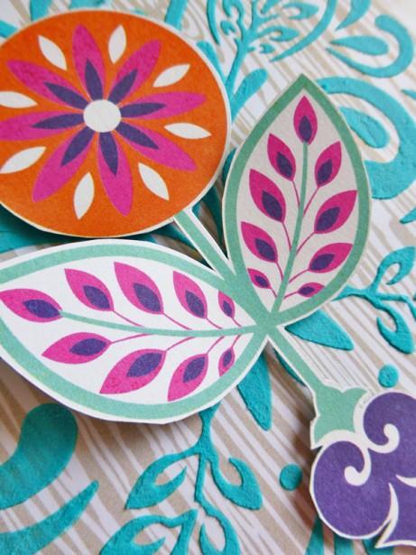 Basic Grey - Grand Bazaar - Leaf & Flourish stencil - card - detail 3