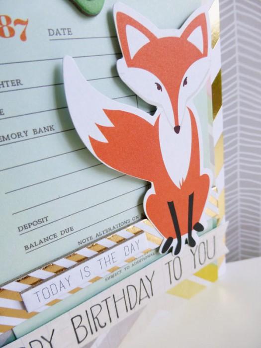 Foxy birthday greetings - detail