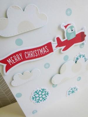 Merry Christmas flying penguin card - detail