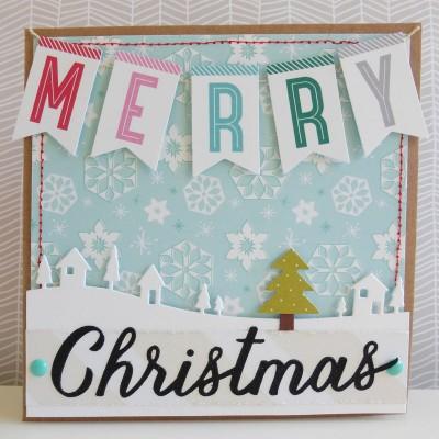 Merry Christmas winter scene card