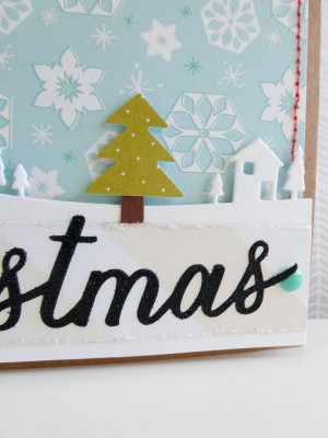 Merry Christmas winter scene card - detail