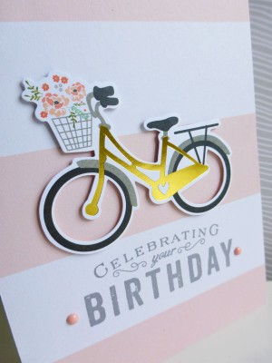 Birthday bicycle card - close-up
