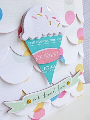 Crate Paper standouts - Eat dessert first card - detail