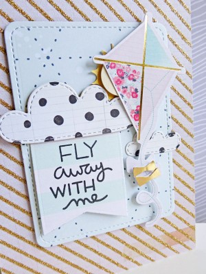 Crate Paper standouts - Fly away with me card - detail