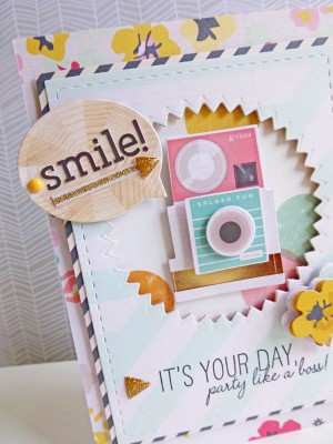 Crate Paper standouts - Smile! card - detail