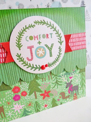 Basic Grey - Juniper Berry - Comfort and Joy card - detail