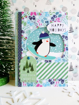 Pebbles - Winter Wonderland - Snowboarding Penguin card