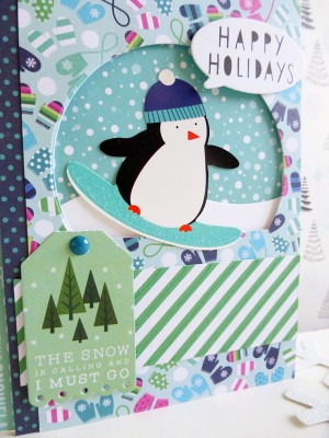 Pebbles - Winter Wonderland - Snowboarding Penguin card - detail