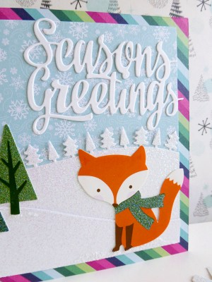 Pebbles - Winter Wonderland - Winter Fox card - detail