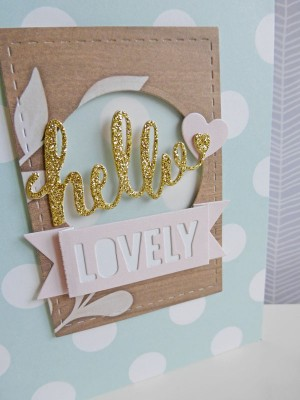 Hello Lovely card - detail