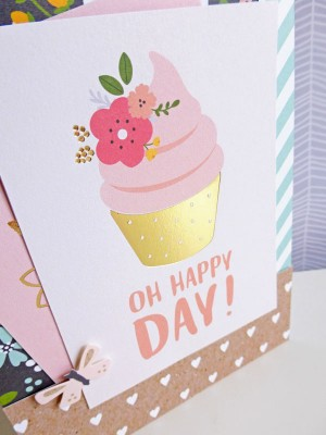 Pebbles - Spring Fling - Oh Happy Day card - detail