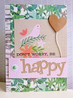 Basic Grey Hillside - Don't worry, be happy card