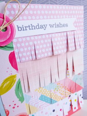 Pink Paislee - Fancy Free - Birthday wishes card - detail