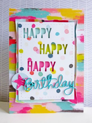 Pink Paislee - Fancy Free - Happy, Happy, Happy Birthday card