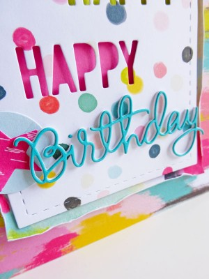 Pink Paislee - Fancy Free - Happy, Happy, Happy Birthday card - detail