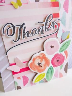 Pink Paislee - Fancy Free - Thanks card - detail
