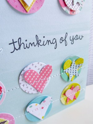 Pink Paislee - Fancy Free - Thinking of you card - detail