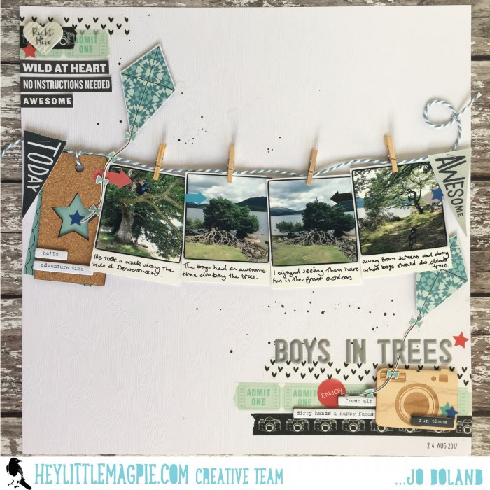 Hey Little Magpie Jo Boland 'Boys in trees' scrapbook layout