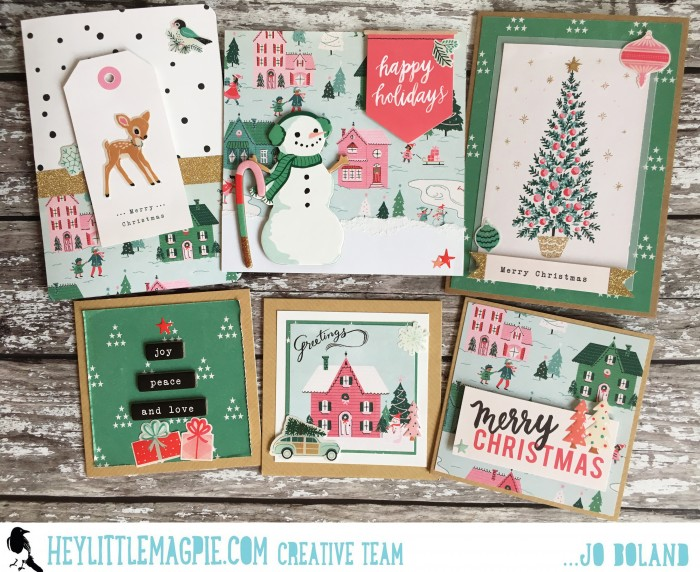 Jo Boland Hey Little Magpie DT Crate Paper Falala Christmas Cards