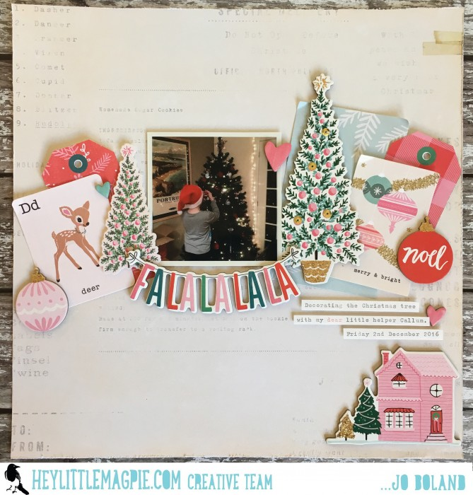 Jo Boland Hey Little Magpie DT Crate Paper Falala Falalalala Layout