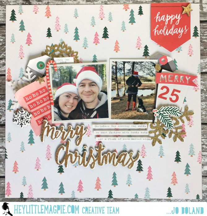 Jo Boland Hey Little Magpie DT Crate Paper Falala Merry Christmas Layout