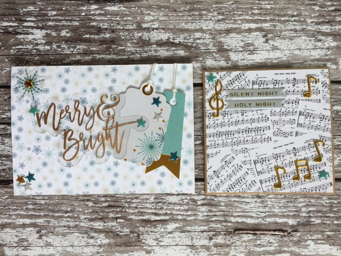 Jo Boland Hey Little Magpie Merry & Bright Christmas cards set4