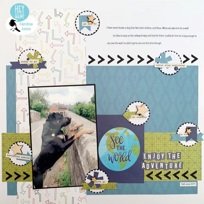 Scrapbook page using Sparkle City by Shimelle